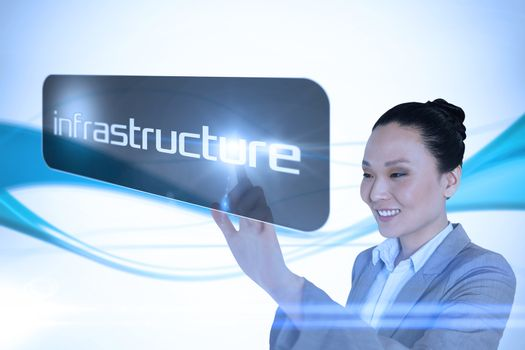 Businesswoman pointing to word infrastructure