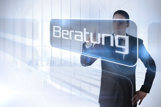 Businessman pointing to the word advice in german