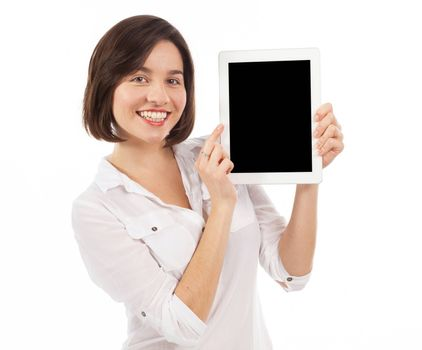 Smiling woman holding and showing a blank touchpad, communication concept, isolated on white