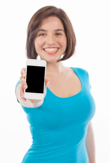 Smiling woman showing a phone, communication concept, copy space, isolated on white