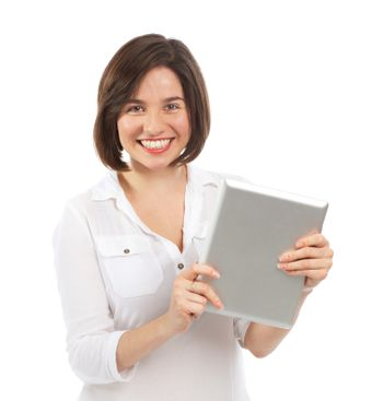 Young smiling woman holding an electronic tablet, isolated on white
