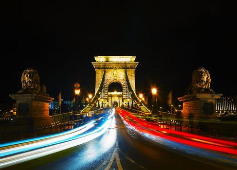 Szechenyi chain bridge in Budapest, Hungary