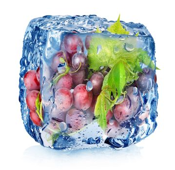 Grape in ice cube