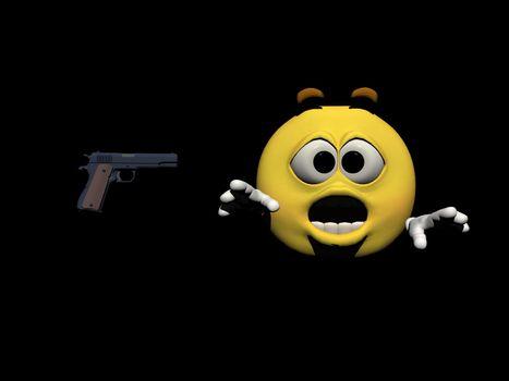 emoticon surprised by a firearm