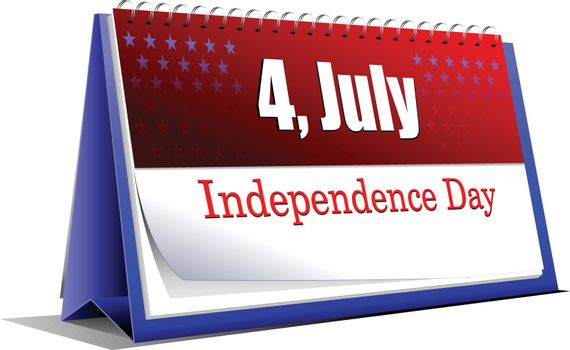 4th July ��� Independence day of United States of America. Desk calendar. Vector illustration