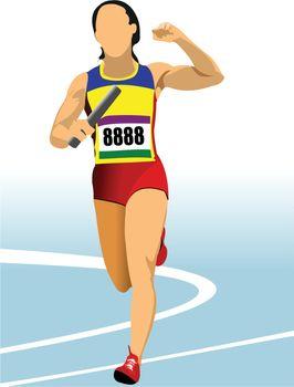 Short-distance runner. Relay. Vector illustration