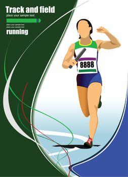 Short-distance runner. Raley. Vector illustration