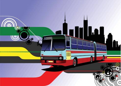 City panorama with  bus image. Coach. Vector illustration