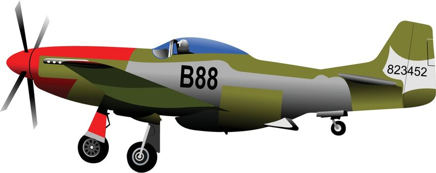 Old combat Airplane on the air. Vector illustration