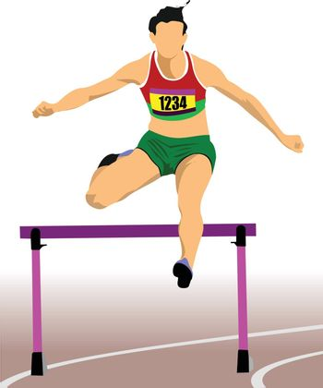 Woman running hurdles. Vector illustartion