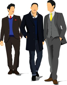 Three Young handsome men. Businessman.Vector illustration