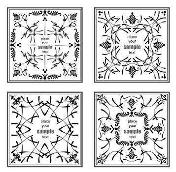 Four black ornaments on white background. Can be used as invitat