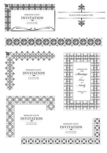 Collection of Ornamental corners in vintage Design styles