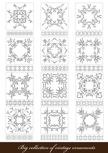Big Collection of Ornaments in Different Design styles. Vector i