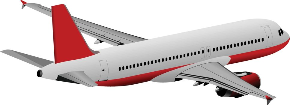 Airplane on the air. Vector illustration