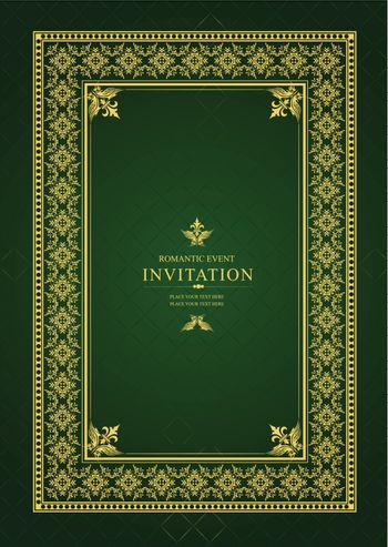 Gold ornament on deep green background. Can be used as invitatio