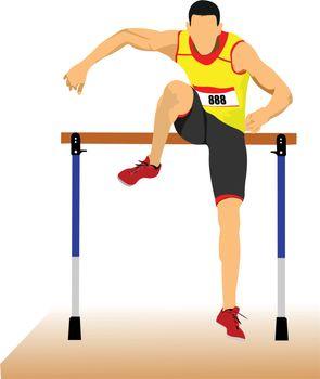 Man running hurdles. Vector illustartion