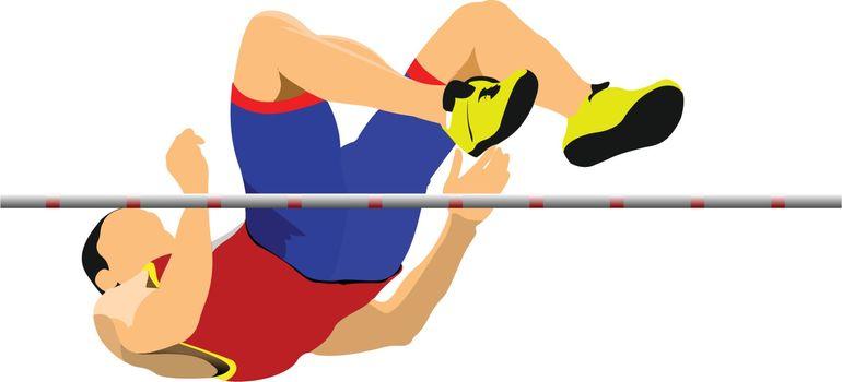 Man high jump. Sport. Track and field. Vector illustration