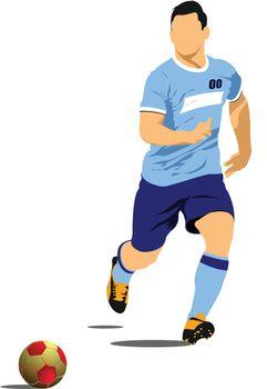 Soccer player poster. Vector illustration