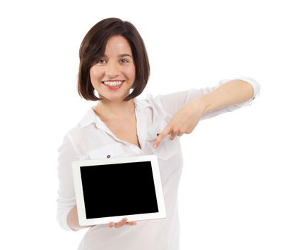 Smiling brunette showing a blank touchpad with her finger, communication concept, isolated on white