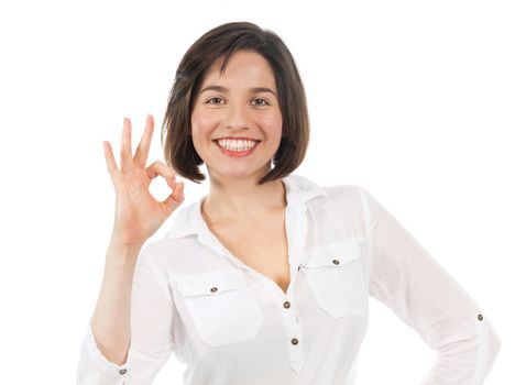Portrait of young woman having a positive gesture, isolated on white