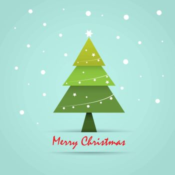 Christmas postcard template with Christmas tree, holiday background. Vector illustration.