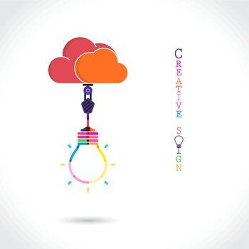 Flat cloud and creative light bulb sign