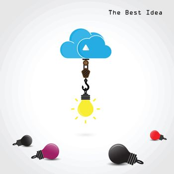 Flat cloud and creative bulb