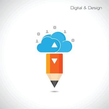 Creative pencil and cloud symbol