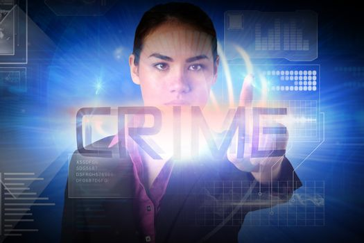 Businesswoman presenting the word crime