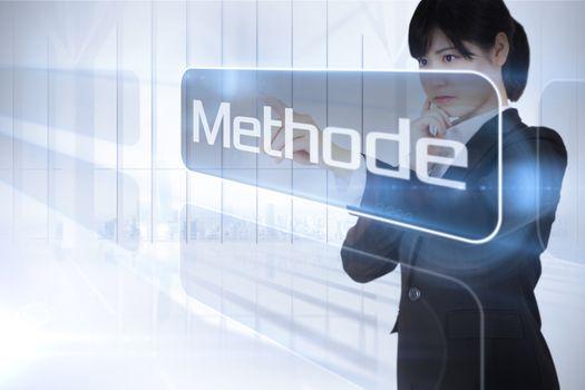Businessman presenting the word method in german