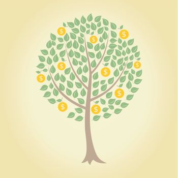 tree with coins on a yellow background