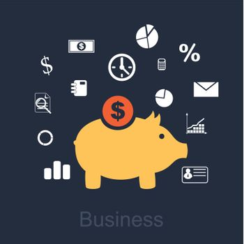 yellow monetary pig around the elements of the business
