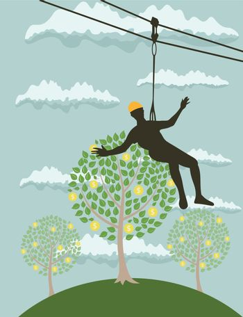 the man on the rope collects coins