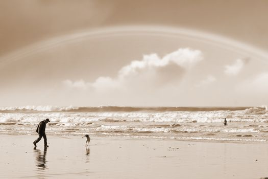 one man and his dog on Ballybunion beach county Kerry Ireland with a rainbow in sepia