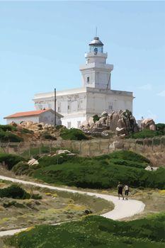 lighthouse in Capo Testa, Sardinia, Italy - Vector realistic image