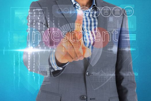 Businessman touching the word invest on interface