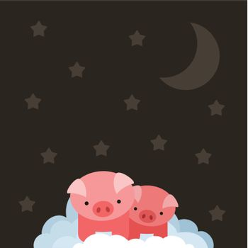 Two pigs in the sky. A vector illustration
