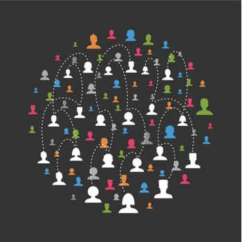Social network of people. A vector illustration