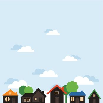 One-storeyed houses against the sky. A vector illustration