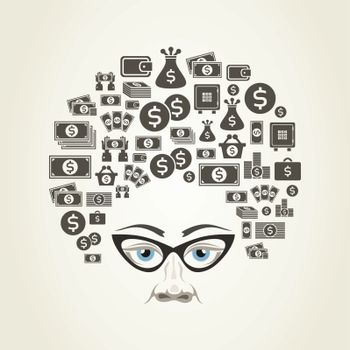 Hairdress from money for a head. A vector illustration
