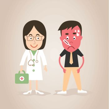 The woman the doctor treats the patient. A vector illustration