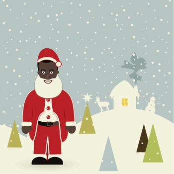 African American Santa Claus. A vector illustration
