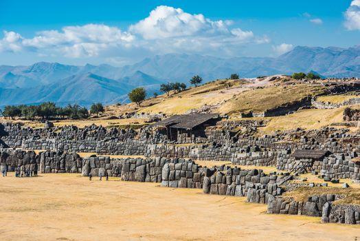 Sacsayhuaman ruins peruvian Andes  Cuzco Peru