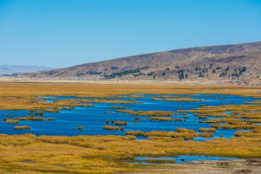 Titicaca Lake in the peruvian Andes at Puno Peru