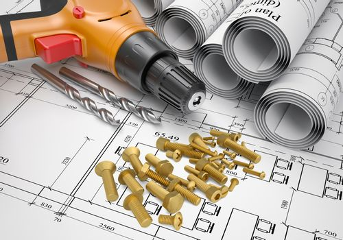 Electric screwdriver, fastening hardware, borers, scrolled drafts, architectural drawing