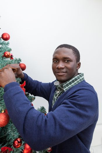 30-35, adult, african, background, balls, beautiful, black, celebration, cheerful, child, christmas, cute, decoration, festive, festivity, handsome, happy, home, homey, indoors, joyful, lifestyle, living, male, man, model, old, one, person, portrait, property, red, releases, room, smiling, time, tree, vertical, white, xmas, years