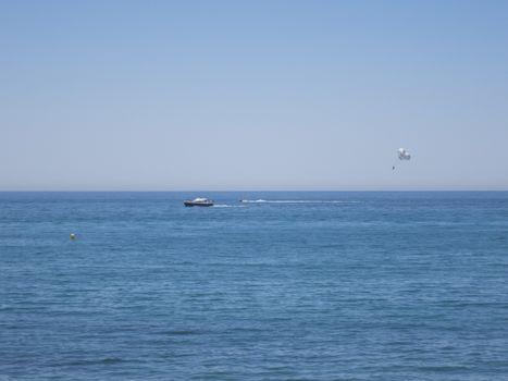 paracesding parasail in Mediterranean Sea