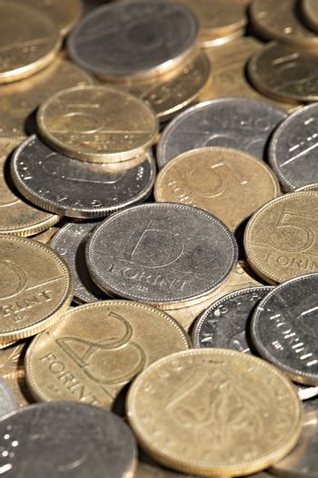 Pile of coins close up