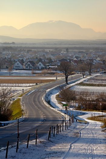 Road going through the winter countryside